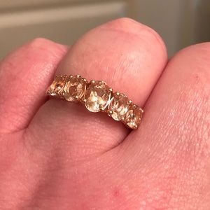 Genuine Morganite 5 stone ring. RG. Size 10.